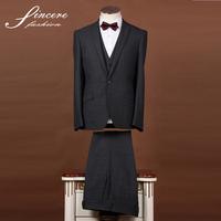 Dark Grey Men's suit wool/polyester jacket trouser waistcoat 3 piece suit