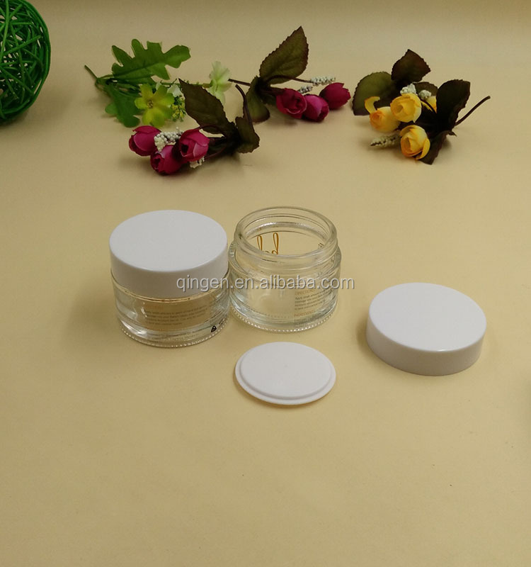 80g cosmetic jar lid with print /cosmetic glass straight sided jars with lids