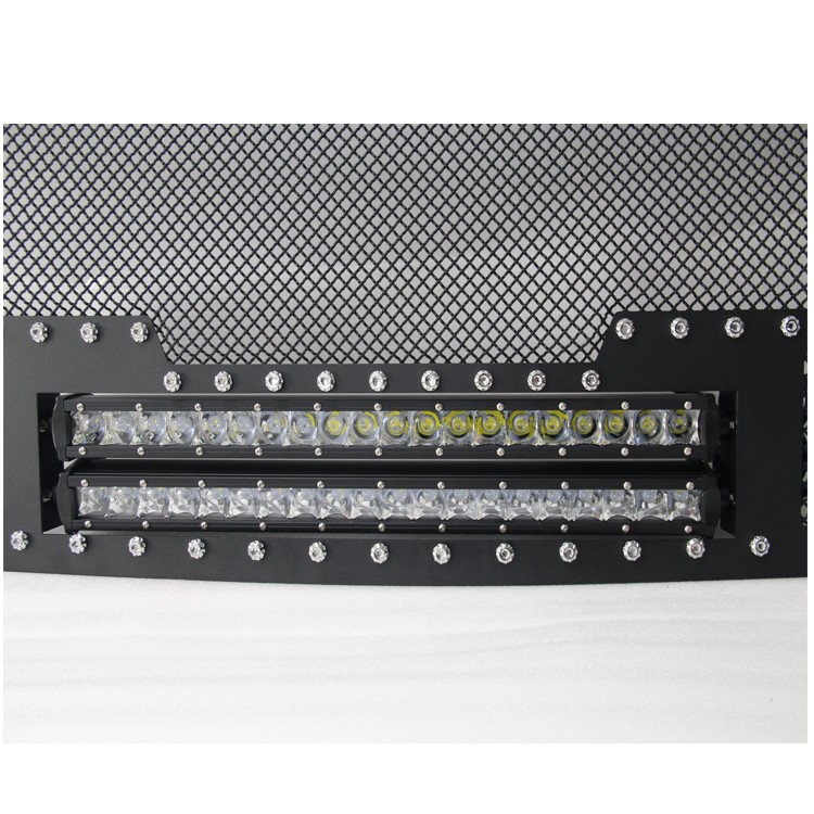 Front Main Upper Stainless Steel Mesh Grille Black Color with LED Light Bar