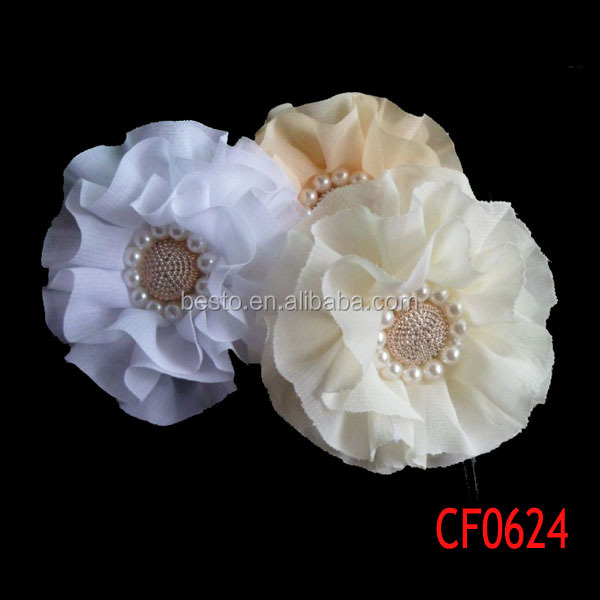 Cf 0624 White Fabric Flower Dresses Embellishments Dress Making Flowers For