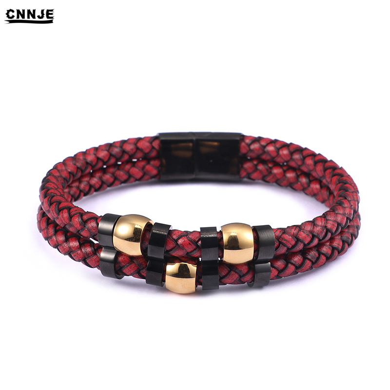 High Quality Stainless Steel Buckle Handmade Red Braided Rope Leather Bracelet Accessories, Black