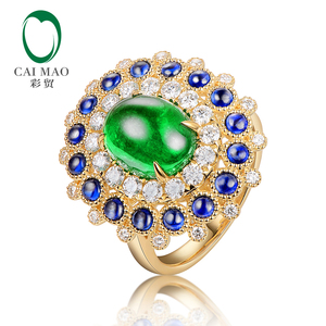 Caimao Cabochon Cut 1.85ct Natural Emerald 18k White Gold Halo Diamond Sapphire Engagement Ring Fine Gold Jewelry