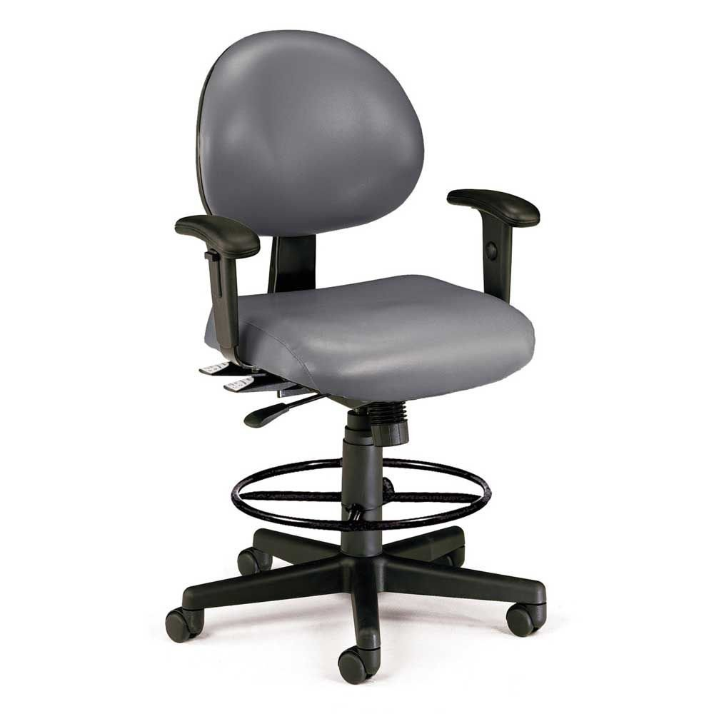 "241 Series Vinyl 24 Hour Ergonomic Drafting Stool Dimensions: 27""W x 29.75""D x 43.75-47.25""H Seat Dimensions: 19.5""Wx19""Dx25.75-29.5""H Weight: 49 lbs. Charcoal Vinyl/Black Base"