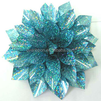 9cm gift wrapping plastic ribbon holographic star bow metallic ribbon bow for decoration holographic