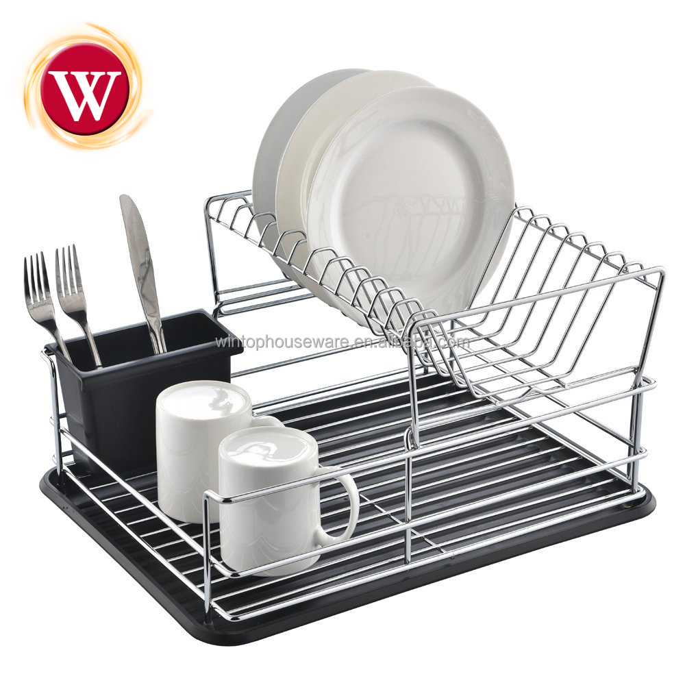 Facile à assembler 2 niveaux fil inox égouttoir à vaisselle en métal porte-vaisselle cuisine égouttoir à vaisselle