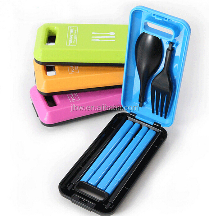 Traveller Folding Spoon Fork Cutlery Set with box,plastic dinnerware,portable tableware