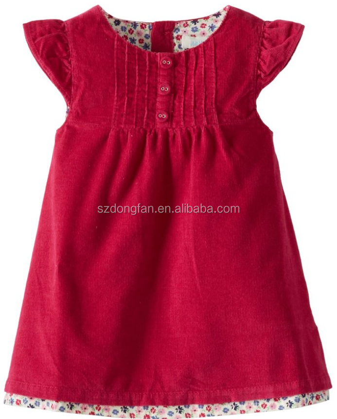 100% Cotton Material and Casual Style Plain Girl frocks Smocked Dress size 2-10 with Cap sleeve