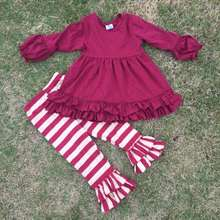 2015 new design 2-7t ruffle top boutique suit girls stripes pant long sleeves kids outfits super cute baby kids wear set