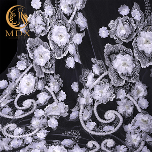 Latest design 3d embroidery wedding fashion floral textile bridal dress tulle lace fabric