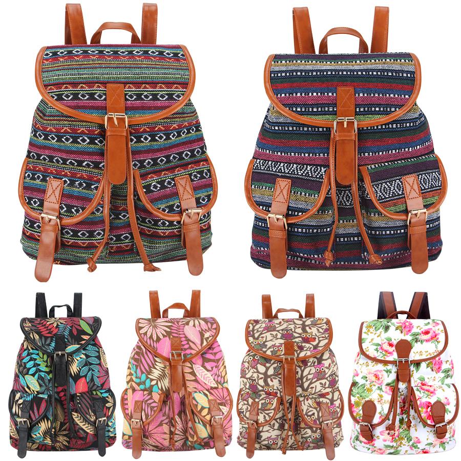 30 Colors Exclusive Handmade Vintage Rucksack Printing Canvas Women Backpack Mujer Mochila Escolar Feminina School Bag
