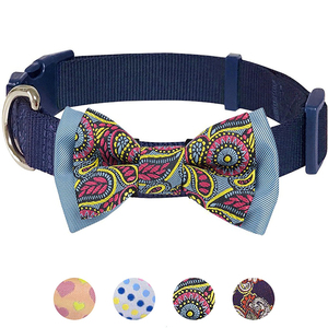 Runwing pet 7 patterns soft comfortable paisley flower print padded dog collar 4 patterns handmade detachable bow tie collar