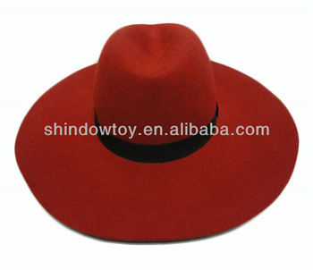 940752432b4fa Fashion Red Wool Felt Floppy Hat