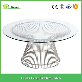 Modern Platner Style Stainless Steel Wire Gl Coffee Table