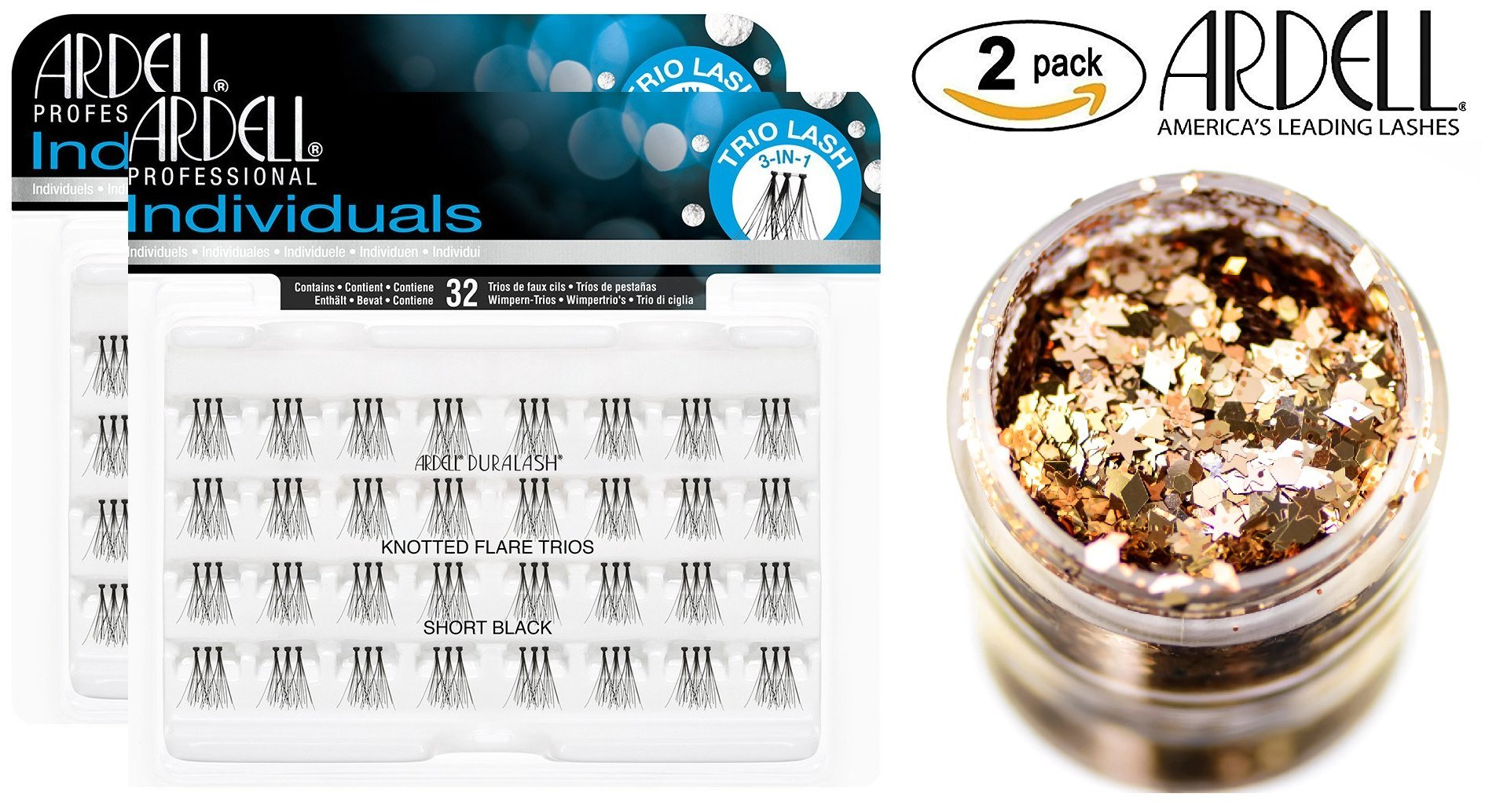 594b2397e74 Ardell DURALASH INDIVIDUALS, KNOTTED FLARES TRIOS, Short Black, Contains 32 TRIO  Lash 3-in-1 Lashes (2-PACK with bonus Skin/Hair GLITTER) (Short Black ...