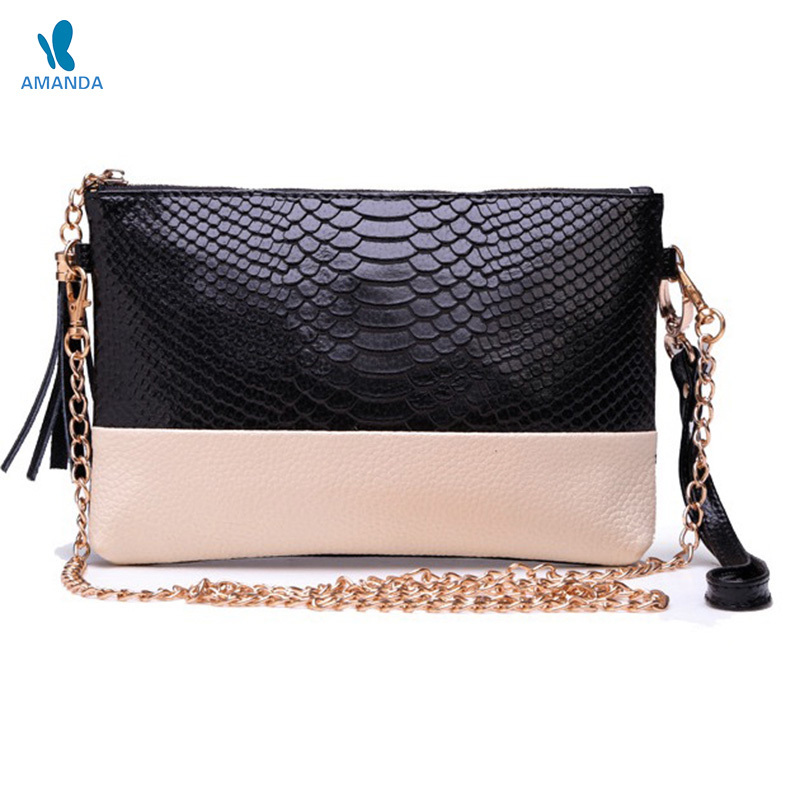 Fashion women genuine leather bag mini patchwork clutch ladies bags leather handbags elegant women evening handbag shoulder bags
