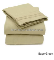 N Triple Stitch 4-Piece Bed Sheet Set, Green - Twin (Polyester, Embroidered)