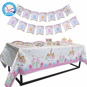 Newest Unicorn Theme Party Tablecloths Kids Birthday Party Supplies Table Cover Wedding Decoration Supplies 2018 new product