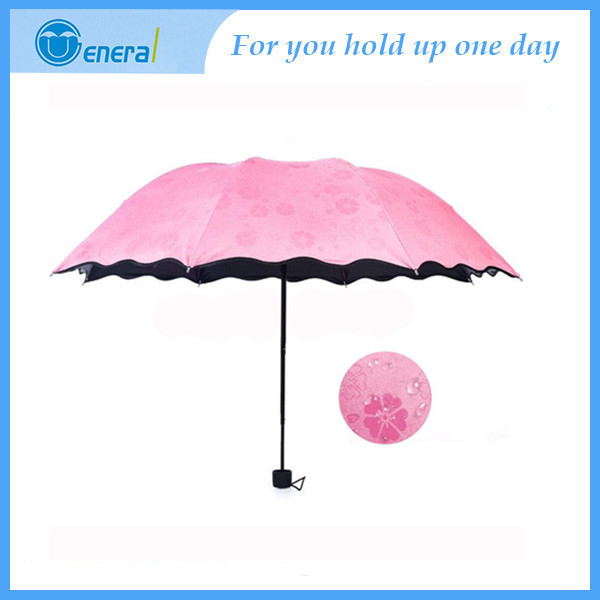 Folding Umbrella Magical Bloom Flower in Rain Water Fashion Exquisite Windproof Sunshade for Women Girl
