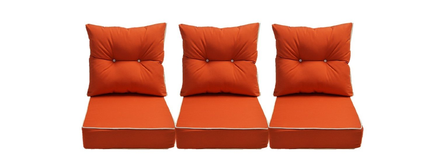 Sunbrella Canvas Melon / Coral Cushion w/ White Cording / Pipping - Set of 3 Seat and Back Cushions for Deep Seating Couch / Sofa - Choose Size (24w X 27d)