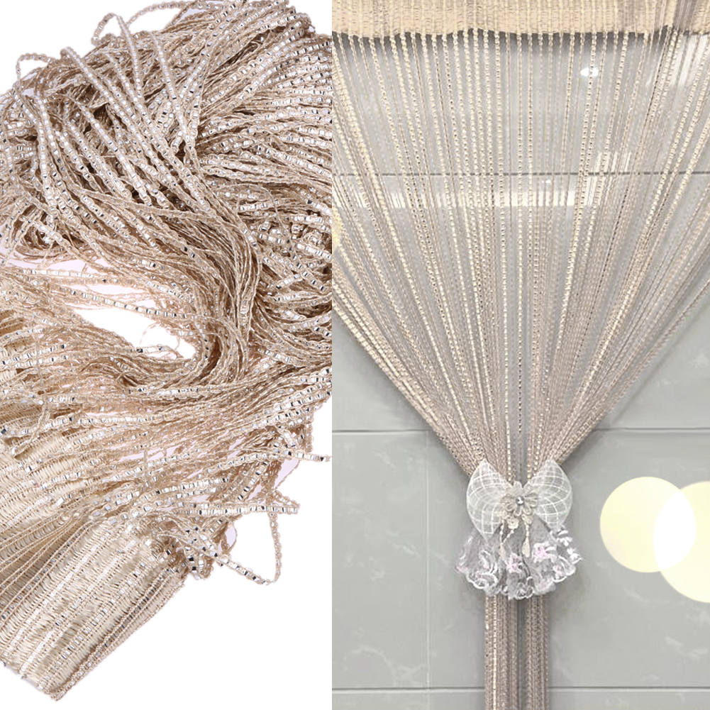 2019 1*2m Crystal Bead Curtain Polyester Silver Leather