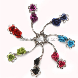 double flowers rose belly piercing free belly button rings navel ring