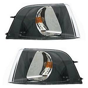 2001-2002-2003-2004 Volvo S40 & V40 Corner Park Lamp Turn Signal Marker Light (with Black Bezel) Pair Set Right Passenger AND Left Driver Side (01 02 03 04)
