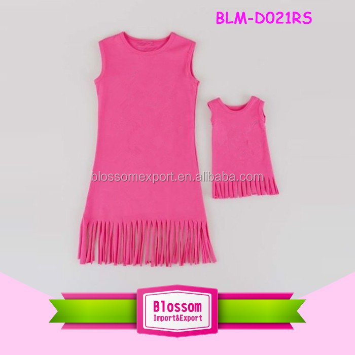 Fashion Kids Baby Girls Clothes children cotton frocks designs sleeveless kid dress casual tassels print pattern wholesale price