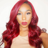 Rihanna's hairstyle red body wave hair for african american synthetic lace front wig for black women heat resistant wigs