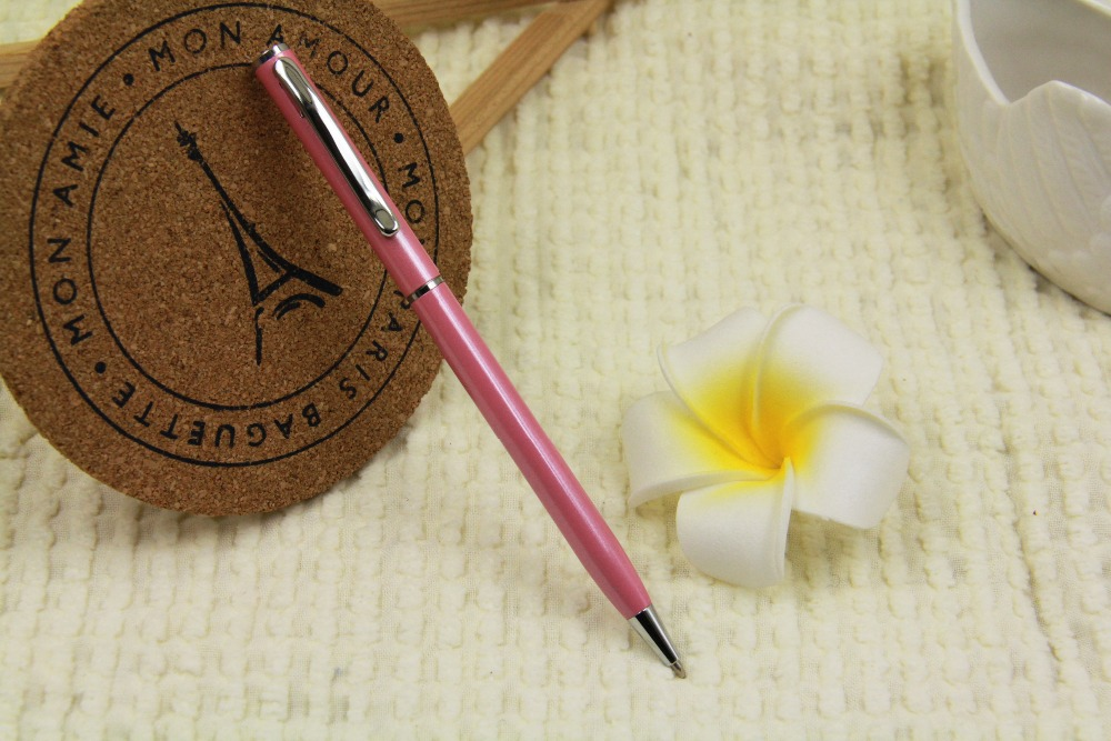 2017 High quality pink metal pen,classic style of luxury hotel pen with custom logo