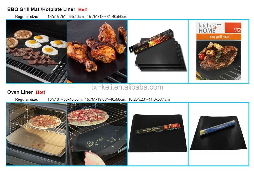 "PTFE Non-stick Grill Mesh Mat for Oven and BBQ 13""x15.75"" Black color"