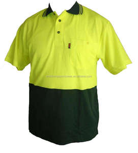 Mens custom 100% polyester coolmax fluorescent green black with left chest pocket and ribbec collar work polo shirt
