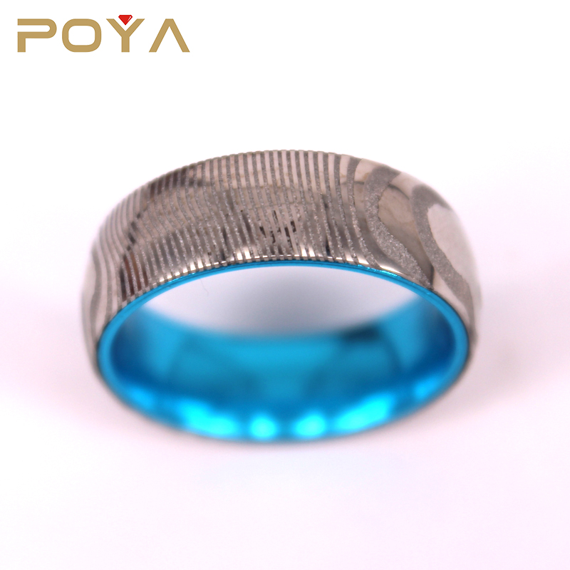 POYA Jewelry 8mm Real Damascus Steel Ring with Blue Anodized Aluminum Ring Comfort Fit