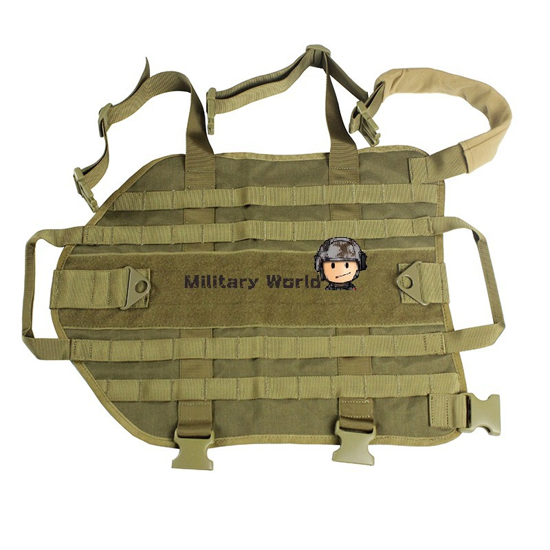 Airsoft Tactical Military 1000D Nylon Dog Training Molle Vest Hunting Combat Harness Durable Adjustable Dog Vest Coyote Brown