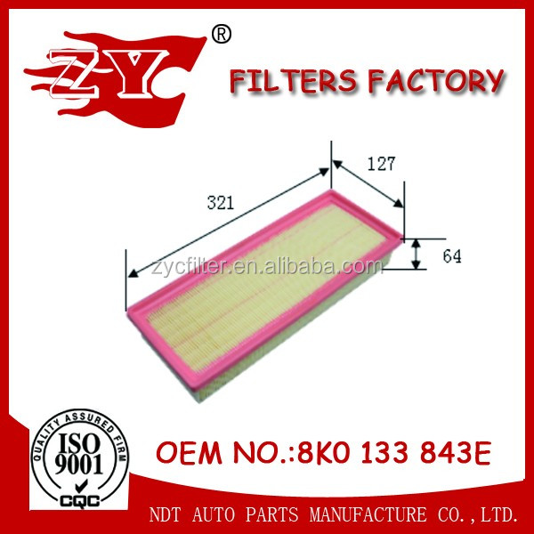 Air filter 8K0 133 843 E/8K0133843E/8K0133837AC/8R0 133 843K/8R0133843K/8R0133843C for VOLKSWAGEN