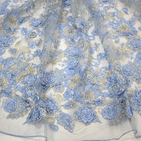 Bridal lace fabric wholesale handmade beads lace embroidery with 3d flower HY0771-2