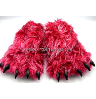 b1b72d208b8 Monster Long Hair Red Big Foot Unisex Bear Animal Plush Claw Paw Slippers