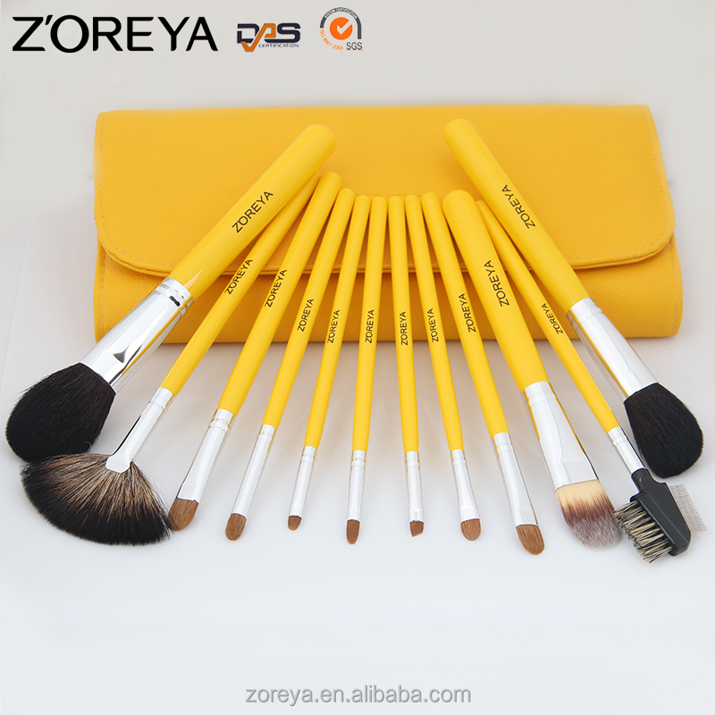 12 pieces Stock PU Bag Professional Zoreya high quality Wood handle Private label makeup brush set
