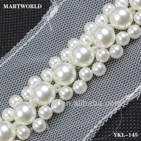 High quality fancy white round shape crystal pearl trim for dress (YKL-145)