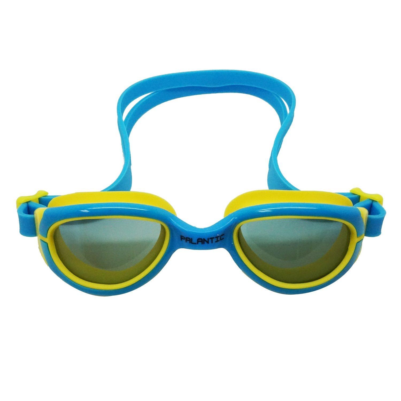 Palantic Jr. Silicone Swim Goggles w/UV Tinted Lenses, Blue/Yellow
