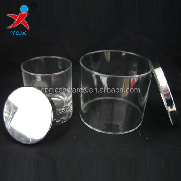 hand made heat resisting borosilicate glass candle jar with metal lids