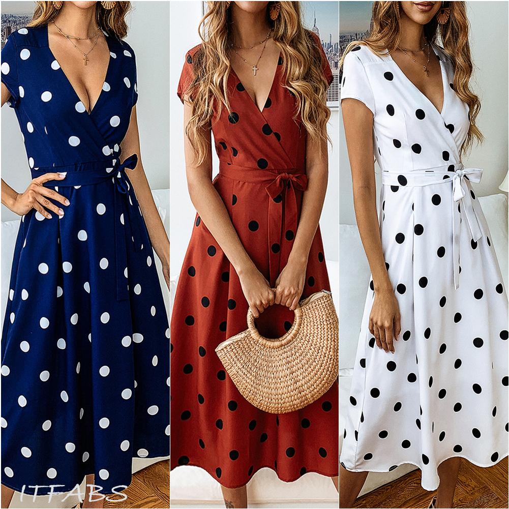 UK Womens Summer Loose Holiday Polka Dot Strappy Ladies Ruffles Party Midi Dress