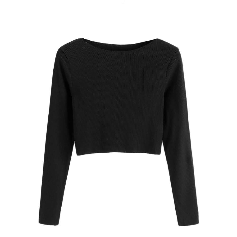 Snowfoller Women Tops,Fashion Crew Neck Long Sleeve Knitting Pullover Autumn Thin Sweater Short T-Shirt
