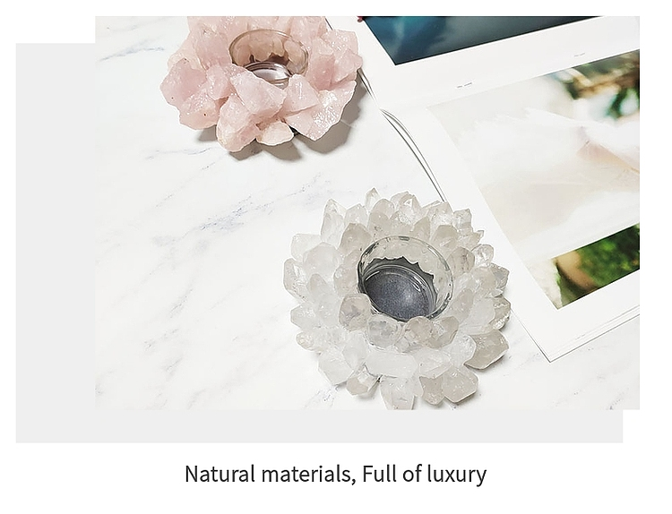 Fashion luxury romance Lotus flower crystal candlestick stone candle holders