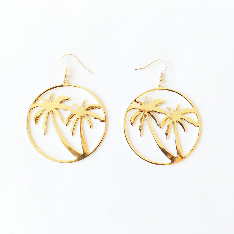 Fashion Simple Women Coconut Palm Tree Dangle Earring Big Round Circle Drop Earrings Summer Holiday Hawaii Earring jewelry, As pic or customized