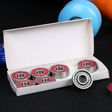 8pcs in a box 608 8*22*7mm skateboard bearing OEM red sheild seals red bone redsbone Skateboard shoes ball bearing 608