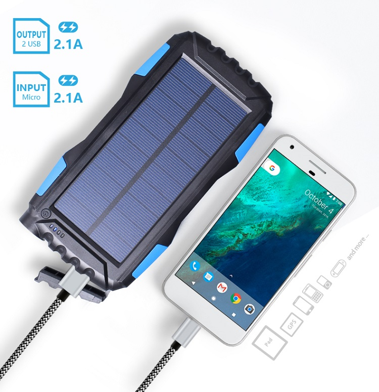 2018 Private Label Product Dual Usb Portable Rohs Waterproof Solar Power Bank Fast Charging 20000mah Power Bank with Led