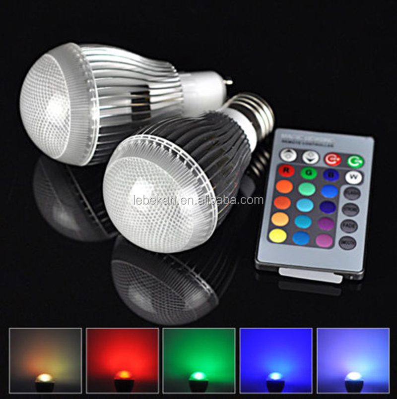 9W E27 LED RGB Light Bulb 16 Colors Change AC85V-AC265V 24 Keys Control RGB Bulb led light