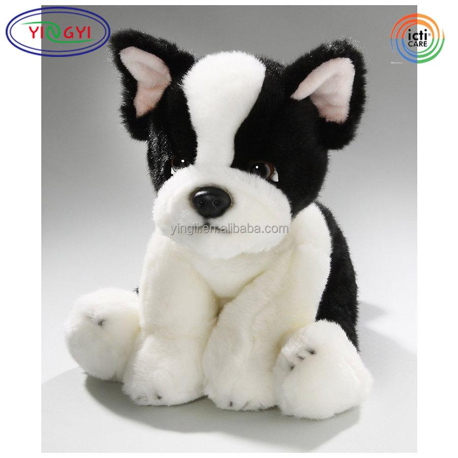 D882 24cm Black White French Bulldog Plush Soft Toy Sparkle Eyes Dog