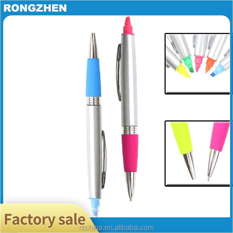 promotional logo color highlighter ball pen with highlight