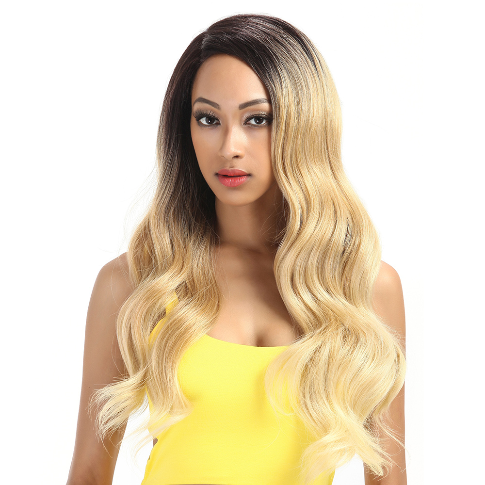 JINGFA Long Straight Lace Front Wigs For Women Ombre Blonde 2 Tone Synthetic Lace Wig Middle Part